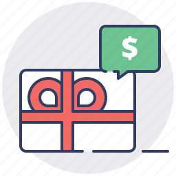 card, coupon, gift, money, present, shopping cart, voucher icon