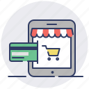 credit card, payment, shop, tablet icon