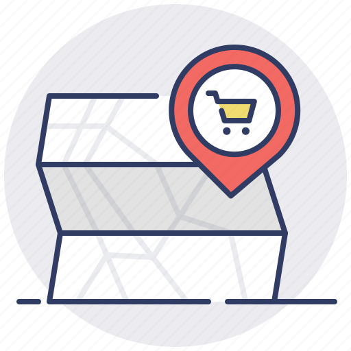 map, pin, shop, store icon
