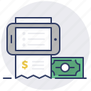 bill, checkout, invoice, mobile, money, phone, purchase icon