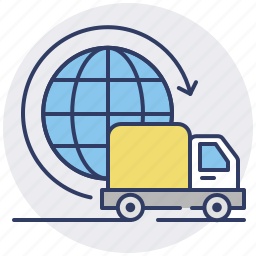 delivery, global, international, shipping, truck, world, worldwide icon