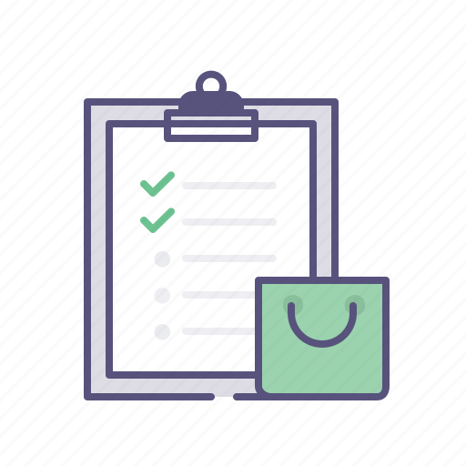 bag, cart, clipboard, ecommerce, list, shopping, todo icon