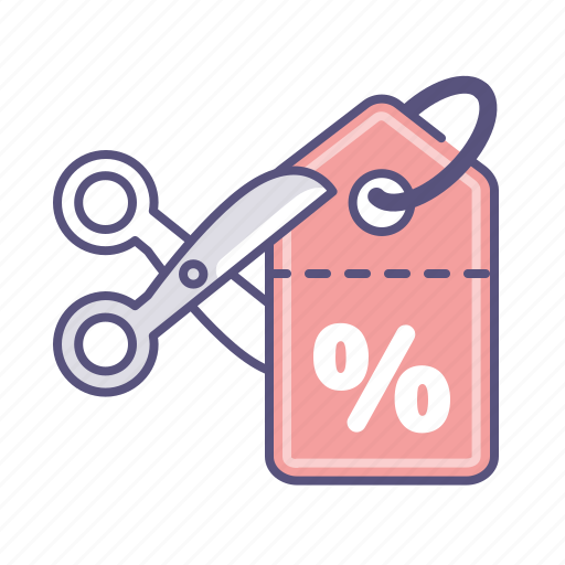 coupon, discount, price tag, sale, scissors, shopping, voucher icon