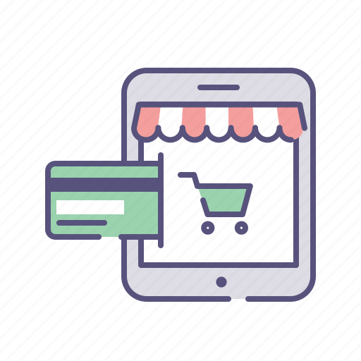 credit card, ecommerce, online payment, tablet icon