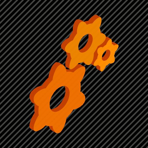 element, engine, isometric, machine, mechanical, orange, technology icon