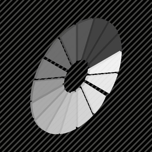 circle, element, grey, isometric, progress, round, web icon