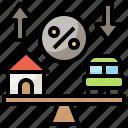 discount, income, interest, percent, profit, rate icon