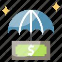 bag, banking, insurance, money, protection, savings, umbrella