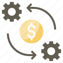 bulb, dollar, gear, process, processing