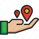 share, hand, placehoder, pin, location, map