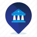 bank, destination, location, map, navigation icon