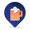 bar, beer, destination, location, map, navigation icon