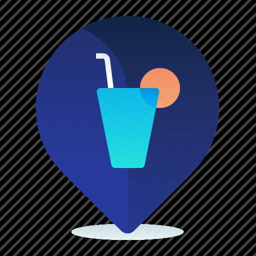 bar, destination, drink, location, map, navigation icon