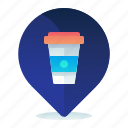 cafe, destination, location, map, navigation icon