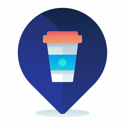 cafe, destination, location, map, navigation icon