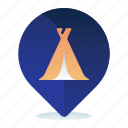 camping, ground, location, map, navigation icon