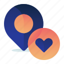 favorite, favourite, heart, location, map icon