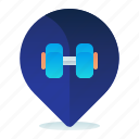 destination, gym, location, map, navigation icon
