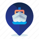 harbour, location, map, navigation, ship icon