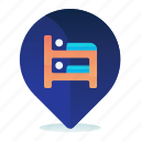 destination, hostel, hotel, location, map icon