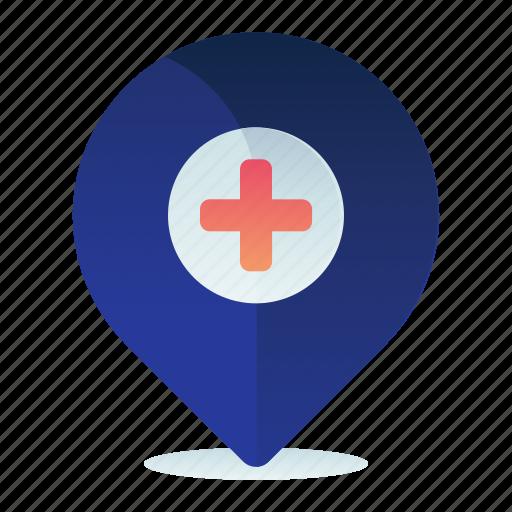 Hospital, location, map, medical, navigation icon - Download on Iconfinder