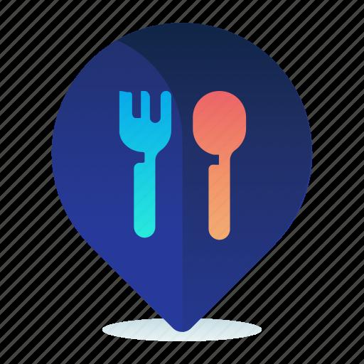 destination, location, map, navigation, restaurant icon