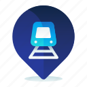destination, location, map, navigation, station, train icon