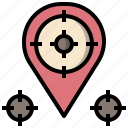 aim, location, pin, shooting, sniper, target, weapons icon