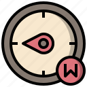 compass, direction, directional, tool, west icon