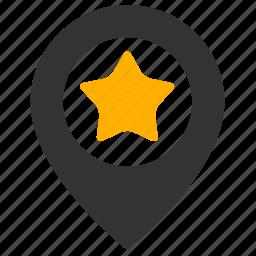 favorite, location, marker, pin, star icon