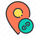 attrach, location, marker, navigator, pointer icon