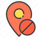 ban, location, marker, navigator, pointer icon
