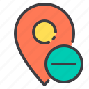 delete, location, marker, navigator, pointer icon