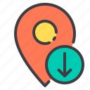 arrow, down, location, marker, navigator, pointer icon