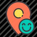 happy, location, marker, navigator, pointer