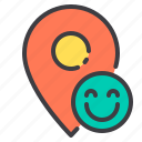 happy, location, marker, navigator, pointer icon