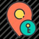 key, location, marker, navigator, pointer icon