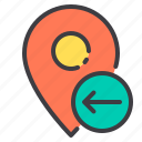 arrow, left, location, marker, navigator, pointer icon