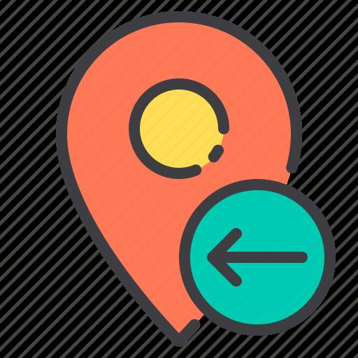 arrow, left, location, marker, navigator, pointer icon