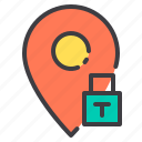 location, lock, marker, navigator, pointer icon