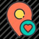heart, location, love, marker, navigator, pointer icon