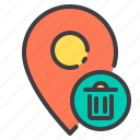 bin, location, marker, navigator, pointer, recycle icon
