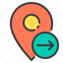 arrow, location, marker, navigator, pointer, right icon