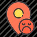 location, marker, navigator, pointer, sad