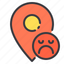 location, marker, navigator, pointer, sad icon