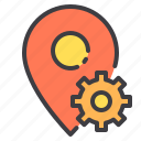 location, marker, navigator, pointer, setting icon