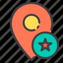 location, marker, navigator, pointer, star icon