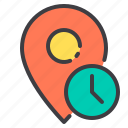 location, marker, navigator, pointer, time icon