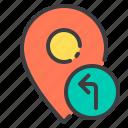 left, location, marker, navigator, pointer, turn icon