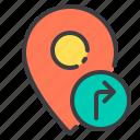 location, marker, navigator, pointer, right, turn icon
